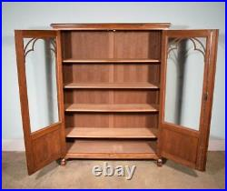 Vintage French Gothic Revival Bookcase/Cabinet/Console in Oak