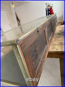 WOW vintage Quartersawn oak gothic table w Nickel glass case c1880 103 x 34
