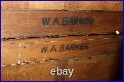 W. A. Barker Gothic Solid Oak 2 Leaded Glass Door 7 Drawer Bookcase Cabinet