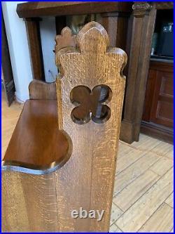 Wonderful Antique Quartersawn Oak Gothic Church Pew 48 Royersford PA