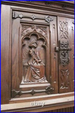 Wonderfully Carved French Gothic Cabinet, 19th Century, Oak
