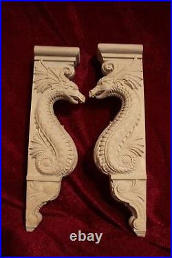 Wooden Corbel/bracket Dragon. Wall Fireplace surround. Wood carved dragon. 25