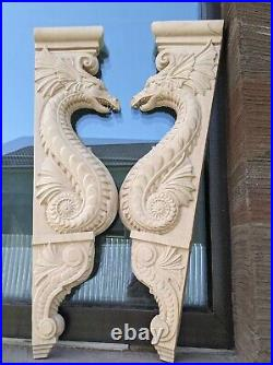 Wooden Corbel/bracket Dragon set. Wall Fireplace decor. Carved on wood. 25