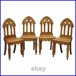 X4 Amazing Vintage Gothic Steeple Back Dining Chairs Lovely Pugin Style Carving