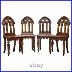 X4 English Oak Gothic Steeple Back Dining Chairs Augustus Pugin Style Carving
