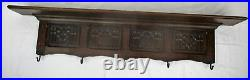 XL Gothic Hand Carved Wood Oak Coat Hat Rack Abstract Gothic Pattern Gorgeous