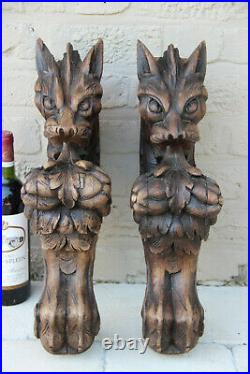 XXL Antique PAIR oak wood carved hunting table dragon gothic legs figurines n1